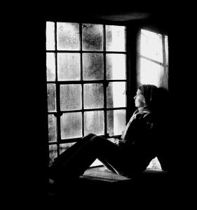 looking thru window