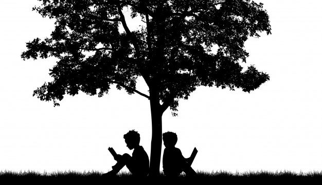 silhouette-of-two-people-on-a-tree_1232-301